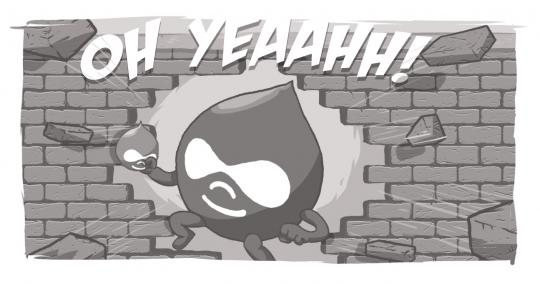 Drupal Drop breaking through brick wall Oh Yeahhh
