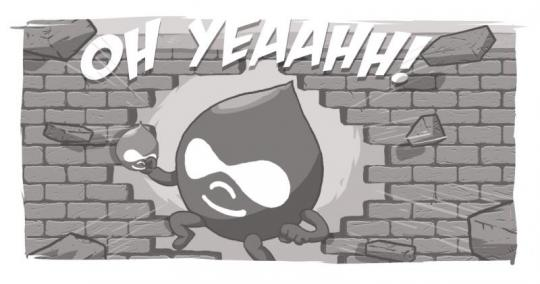 An image of a Drupal Drop, bursting through the wall like the Kool-Aid Man.