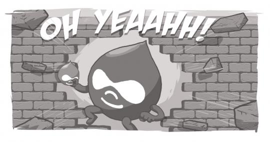 An image of a Drupal Drop bursting through the wall like the Kool-Aid Man