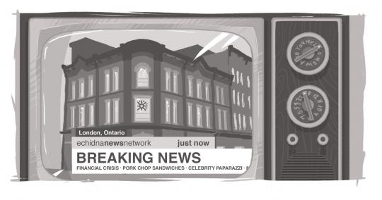 "An image of the Burridge Block, with a ""Breaking News"" ticker below it."