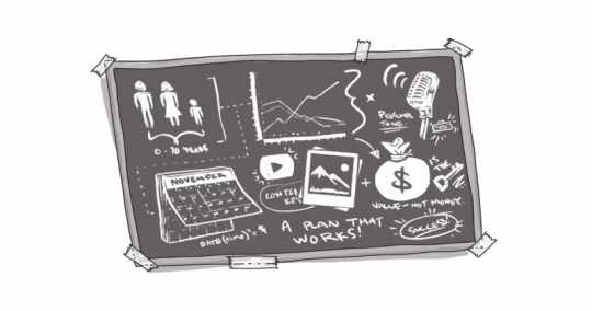 An image of a blackboard, with charts and lines.