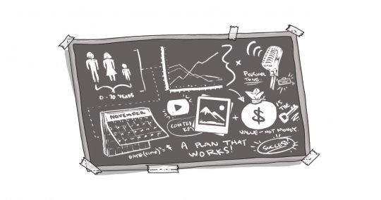 An image of a chalkboard with various images and figures on it.