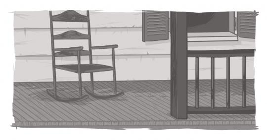 A picture of a rocking chair on a porch, signifying the importance of people telling stories.