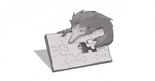 Echidna doing a puzzle with content, seo, and digital pieces