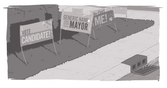 "An image of a series of campaign signs, reading ""Vote Candidate!"" and similar messaging."