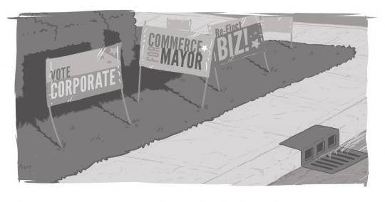"An array of campaign signs, bearing business slogans like ""Vote Commerce."""