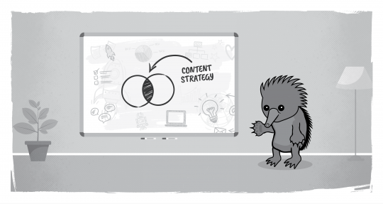 "Echidna with a whiteboard writing ""content strategy"""