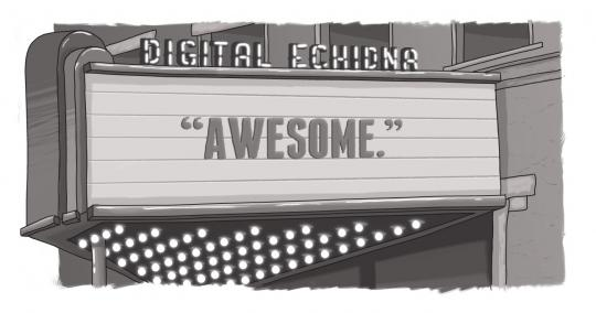 "An image of a theatre marquee with the word ""Awesome"""