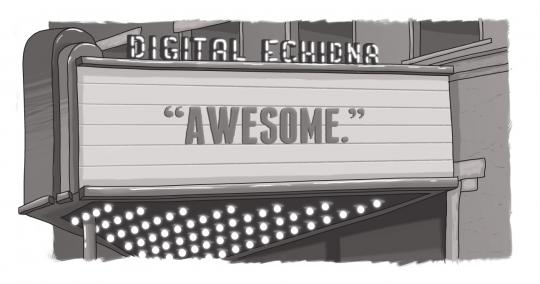 "An image of a marquee with the word ""Awesome"" on it, under a Digital Echidna wordmark."