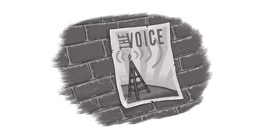 "An image of a radio tower poster on a brick wall, which reads ""The Voice"""
