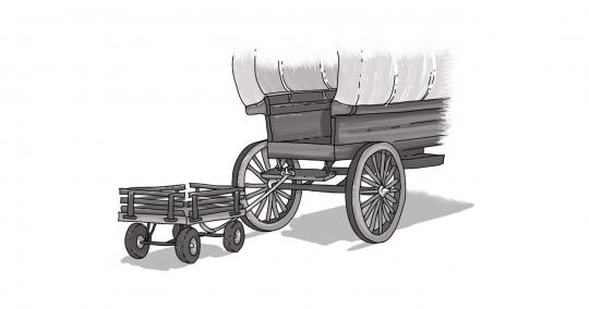 sketch of covered wagon with trailer hitched