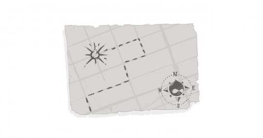 An image of a treasure map with a Drupal Drop as a key.