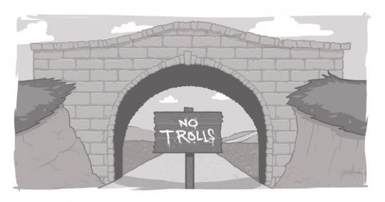 "An image of a bridge with a ""No Trolls"" sign underneath it."
