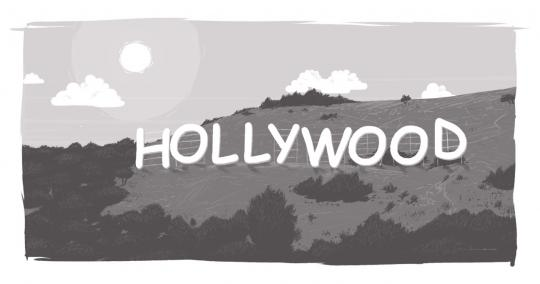 A graphic showing the importance of choosing the right font by illustrating the Hollywood sign in Comic Sans.
